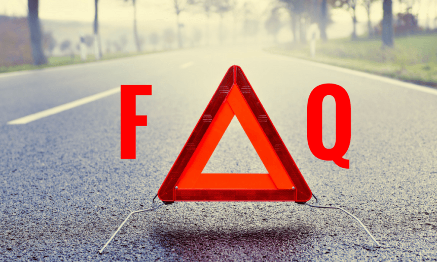 Image of emergency triangle. Letters over symbolize Car FAQs.