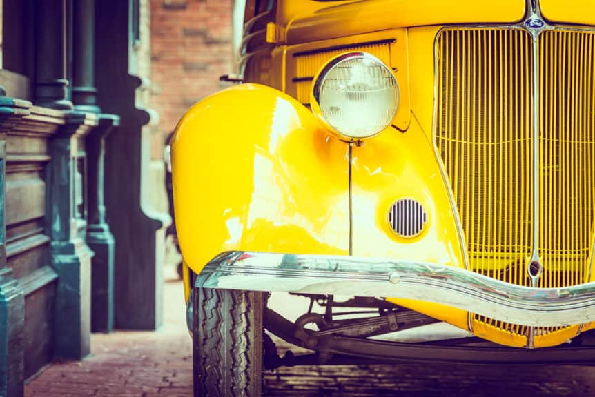 Image of Vintage car waiting to be towed to an exotic car show.