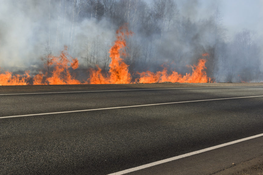 Image of wildfire near road