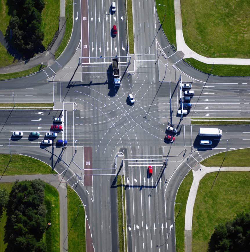 Aerial view of suburban intersection