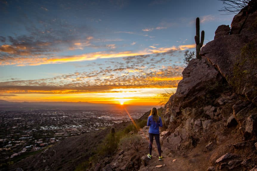 Woman or girl watching sunrise in Phoenix, Arizona