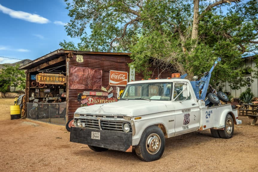 Hackberry, Arizona: Vintage Ford tow truck left abandoned near the Hackberry General Store. Hackberry General Store is a famous stop on the historic Route 66.
