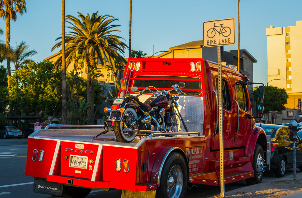 Los Angeles, California - November 03, 2016: Motorcycle on a Tow Truck
